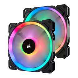 Corsair LL140 14cm PWM RGB Case Fans x2, 16 LED RGB Dual Light Loop, Hydraulic Bearing, Lighting Node PRO Kit Included