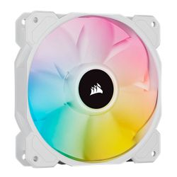 Corsair iCUE SP140 ELITE Performance 14cm PWM RGB Case Fan, 8 ARGB LEDs, Hydraulic Bearing, Single Fan Expansion Pack, White