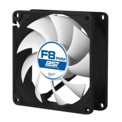 Arctic F8 8cm PWM PST Case Fan, Black & White, Fluid Dynamic, 6 Year Warranty
