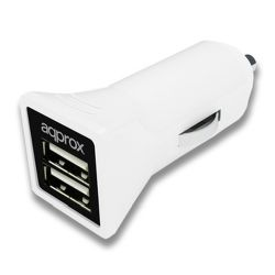 Approx (APPUSBCAR31W) 2 Port USB Car Adapter, 3.1A, White