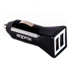 Approx (APPUSBCAR21B) Dual USB Compact Car Adapter, 5V DC/2.4A, Black
