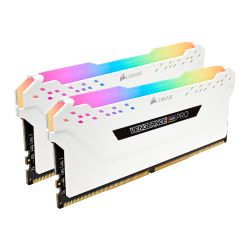 Corsair Vengeance RGB Pro 16GB Memory Kit 2 x 8GB, DDR4, 3200MHz PC4-25600, CL16, XMP 2.0, White