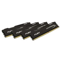 HyperX Fury Black 32GB Kit 4 x 8GB, DDR4, 2400MHz PC4-19200, CL15, 1.2V, DIMM Memory