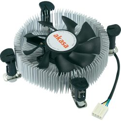 Akasa AK-CCE-7106HP Heatsink and Fan, Sockets 775, 115x, 1200, Low Profile, PWM Fan, up to 73W