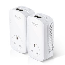 TP-LINK TL-PA9020P KIT AV2000 GB Powerline Adapter Kit, AC Pass Through, 2 Ports