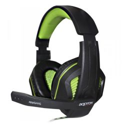 Approx GH7G Gaming Headset, Boom Mic, 40mm Drivers, Inline Controls, 3.5mm Jack, Green