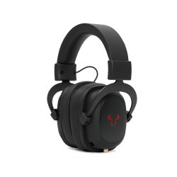 Riotoro Aviator Classic Gaming Headphones, 3.5mm Jack (USB Adapter), Noise Cancelling Mic, 50mm Drivers, Virtual 7.1, Black