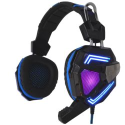 Sandberg 125-78 Cyclone Gaming Headset, 40mm Driver, Boom Mic, Multi-LED Lights, Black & Blue, 5 Year Warranty