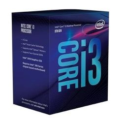 Intel Core I3-8100 CPU, 3.6 GHz, Quad Core, 65W, 14nm, 6MB Cache, UHD GFX, 8 GTs, Coffee Lake