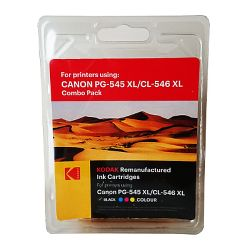 Kodak Remanufactured Canon Black PG-545XL & Colour PG-546XL Inkjet Ink Combo Pack, 33.5ml