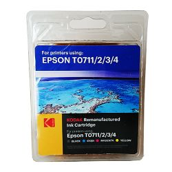 Kodak Remanufactured Epson T0711T0891 Black & Colour Inkjet Ink Combo Pack, 23.9ml