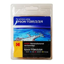 Kodak Remanufactured Epson Black & Colour T1281234 Inkjet Ink Combo Pack, 16.4ml