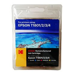 Kodak Remanufactured Epson T1801234 Black & Colour Inkjet Ink Combo Pack, 48ml