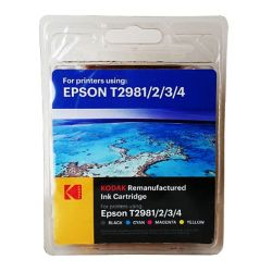 Kodak Remanufactured Epson T2981 Black & Colour Inkjet Ink Combo Pack, 48ml