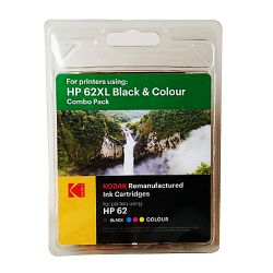 Kodak Remanufactured HP 62XL Black & Colour Inkjet Ink Combo Pack, 40ml