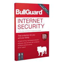 Bullguard Internet Security 2020 Retail Box - Single 3 User Licence - 1 Year - PC, Mac & Android