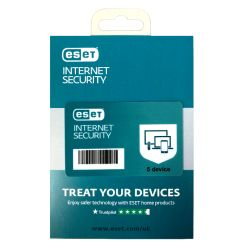 ESET Internet Security Retail Box 10 Pack � 10 x 5 Device Licences  - 1 Year - PC, Mac, Linux & Android