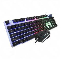 Jedel GK100 RGB Gaming Desktop Kit, Backlit Membrane RGB Keyboard & 800-1600 DPI LED Mouse