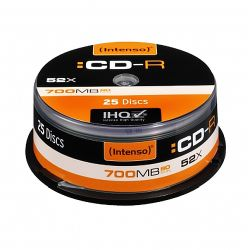 Intenso CD-R, 700MB80 Minutes, 52x Speed, Cake Box of 25
