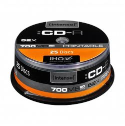 Intenso CD-R, 700MB80 Minutes, 52x Speed, Printable, Cake Box of 25
