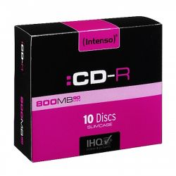 Intenso CD-R, 800MB90 Minutes, Multispeed, Slim Case 10 Pack