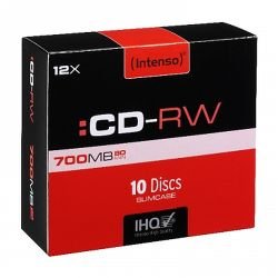 Intenso CD-RW, 700MB80 Minutes, 12x Speed, Re-Writable Disks, Slim Case 10 Pack