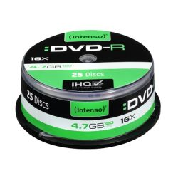 Intenso DVD-R, 4.7GB120 Minutes, 16x Speed, Single Layer, Cake Box of 25