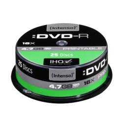 Intenso DVD-R, 4.7GB120 Minutes, 16x Speed, Single Layer, Printable, Cake Box of 25
