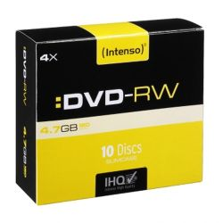 Intenso DVD-RW, Re-writable, 4.7GB120 Minutes, 4x Speed, Single Layer, Slim Case of 10