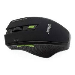 Jedel W400 Wireless Optical Gaming Mouse, 800-1600 DPI, USB, DPI Switch, Black & Green