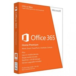 Microsoft Office 365 Home Premium, 1 User, 5 Devices, 1 Year Subscription, 32 & 64 bit, Medialess