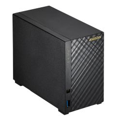 ASUSTOR AS3202T 2-Bay NAS Enclosure No Drives, Quad Core CPU, 2GB DDR3L, HDMI, USB3, Diamond-Plate Finish