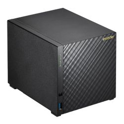 ASUSTOR AS3204T 4-Bay NAS Enclosure No Drives, Quad Core CPU, 2GB DDR3L, HDMI, USB3, Diamond-Plate Finish