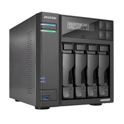 ASUSTOR AS6604T Lockerstor 4-Bay NAS Enclosure No Drives, Quad Core CPU, 4GB DDR4, USB 3.2, 2 x 2.5G LAN,  2 x M.2 NVMe