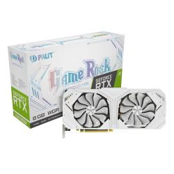 Palit RTX2080 SUPER White GameRock, 8GB DDR6, HDMI, 3 DP, USB-C, 1830MHz Clock, NVLink, 0-dB Tech, RGB Lighting