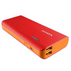 ADATA PT100 10000mAh Powerbank, 2 x USB, 4-Mode LED Flashlight, Red & Orange