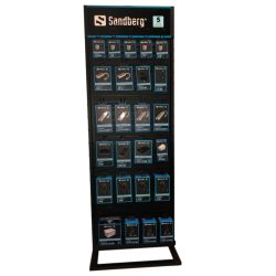 Sandberg Floor Display Stand, Two Sides, Black, 175 x 60 x 40 cm