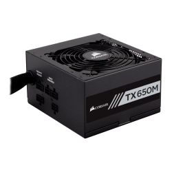 Corsair 650W Enthusiast TX-M Series TX650M PSU, Rifle Bearing Fan, Semi-Modular, 80+ Gold