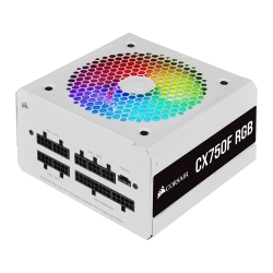 Corsair 750W CX-F RGB Series CX750F PSU, Fully Modular, Rifle Bearing Fan, 80+ Bronze, RGB Fan, White