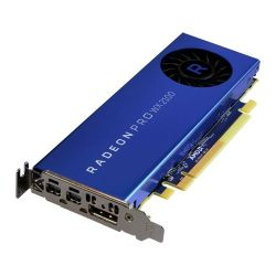 AMD Radeon Pro WX 2100 Professional Graphics Card, 2GB DDR5, DP, 2 miniDP mDP to DVI Adapter, 1219MHz, Low Profile With Bracket