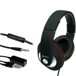 Sandberg 125-86 Play and Go Headset, 40mm Driver, Inline Microphone, 3.5mm Jack, Red & Black, 5 Year Warranty