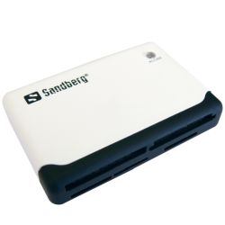 Sandberg 133-46 External Multi Card Reader, USB Powered, Black & White, 5 Year Warranty