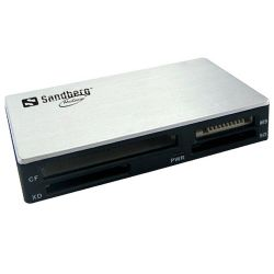 Sandberg 133-73 External USB 3.0 Multi Card Reader, 6 Slot, USB Powered, Silver & Black, 5 Year Warranty