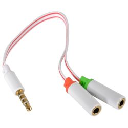 Sandberg 3.5mm Jack Splitter Cable, Mic Input & Audio Output into 1 x 3.5mm Jack, 5 Year Warranty