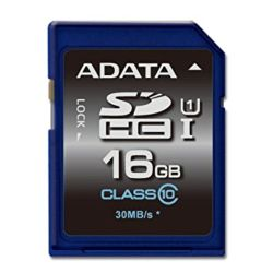 ADATA Premier 16GB High Capacity SD Card, UHS-I Class 10, RW 5010 MBs
