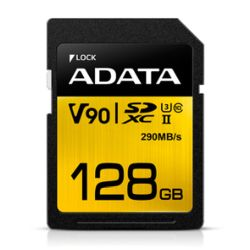 ADATA Premier ONE 128GB SDXC Card, UHS-II Class 10 U3, V90 Video Speed 8K, RW 290260 MBs