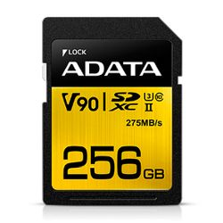 ADATA Premier ONE 256GB SDXC Card, UHS-II Class 10 U3, V90 Video Speed 8K, RW 290260 MBs