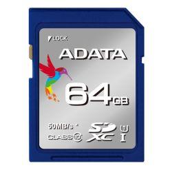 ADATA Premier 64GB High Capacity SDXC Card, UHS-I Class 10, R/W 50/10 MB/S