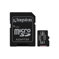Kingston 64GB Canvas Select Plus Micro SD Card with SD Adapter, UHS-I Class 10 with A1 App Performan