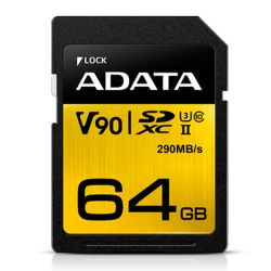 ADATA Premier ONE 64GB SDXC Card, UHS-II Class 10 U3, V90 Video Speed 8K, RW 290260 MBs